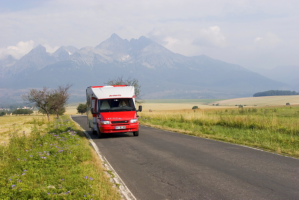 Motorhome in front of the High Tatras mountains, Slovakia