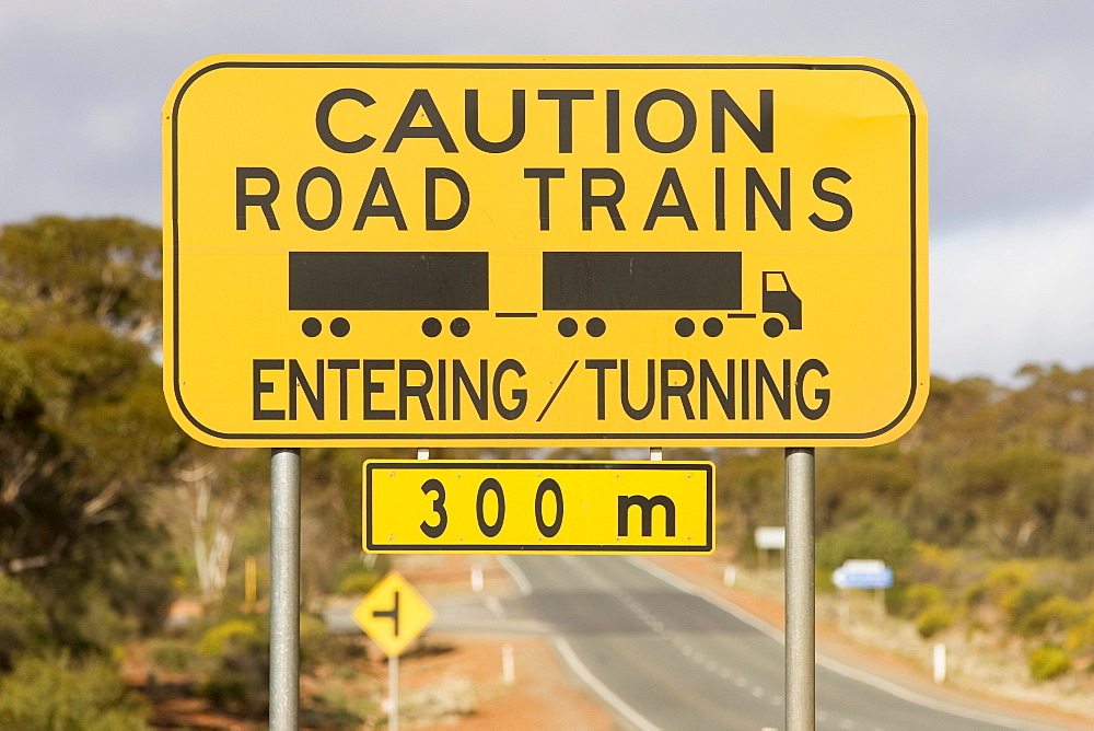 Warning sign (Caution Road Trains), Western Australia, WA, Australia