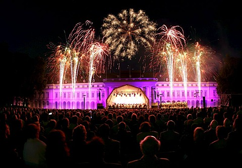 """Castle in flames"", music an fireworks at Koblenz castle. Koblenz, Rhineland-Palatinate, Germany"