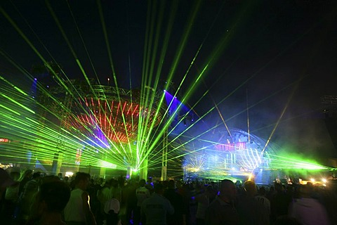 "Lightshow during the ""nature one""-techno-party near Kastellaun , Rhineland-Palatinate, Germany"