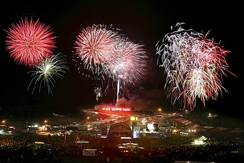Fireworks at the Nuerburgring, Rhineland-Palatinate, Germany,