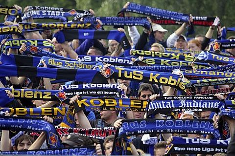 Soccerfans at the tribune of the TUS Koblenz Stadion, Rhineland-Palatinate Germany