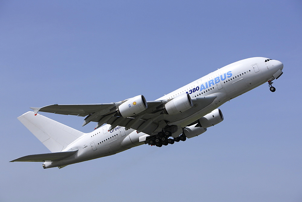 Airbus A380 taking off, ILA 2008, Schoenefeld Airport, Berlin, Germany, Europe