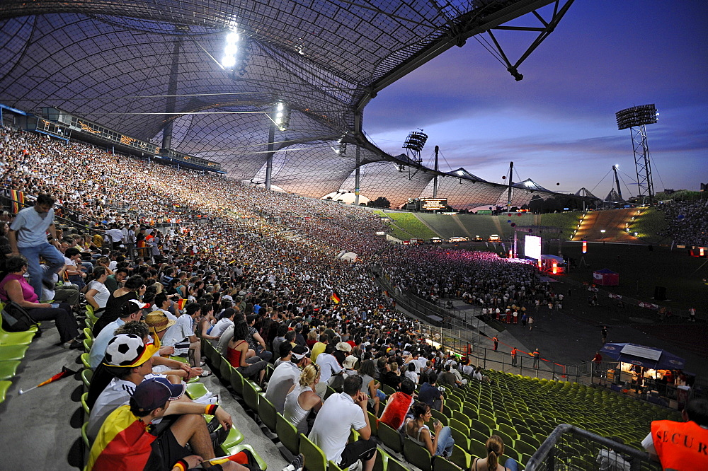 People attending Public Viewing at the Olympic Stadium, Munich, Bavaria, Germany, Europe