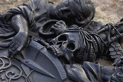 Detail of a tomb-plate, cutting of the life threat, metalwork, Johannis-Cemetery, Nuremberg, Bavaria, Germany