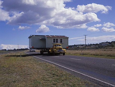 A whole house is moved, North-Island, New Zealand
