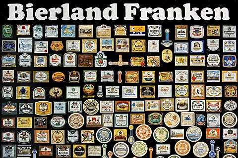 Beercountry Frankonia, poster with beer mats of franconian breweries, Franconia, Bavaria, Germany