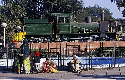 Small steam locomotive, displayed in front of Gwalior Railway Station, Gwalior, Madhya Pradesh, India, Southasia, Asia