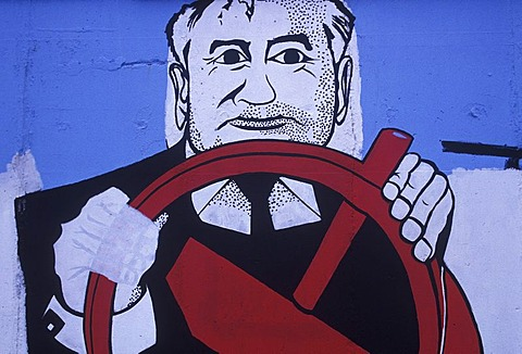 """East Side Gallery"", Gorbatschow at a hammer and sickle steering wheel, Berlin wall, Berlin, Germany, Europe"