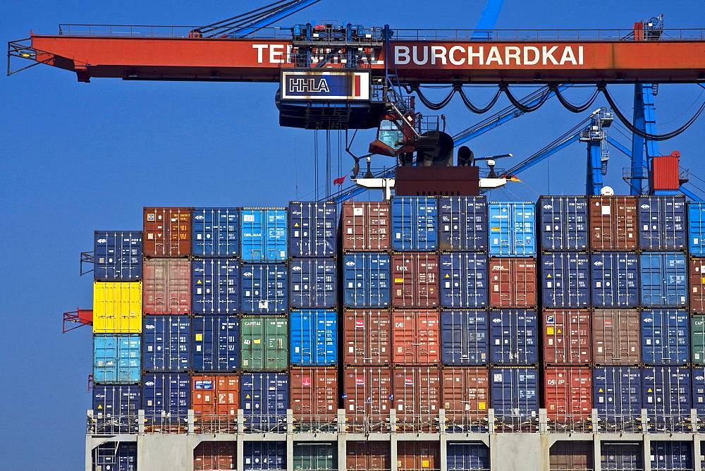 Container ship being loaded at the Burchardkai container terminal, Hamburg Harbour, Germany, Europe