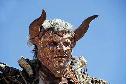 Red demon devil mask, portrait, knight festival Kaltenberger Ritterspiele, Kaltenberg, Upper Bavaria, Germany