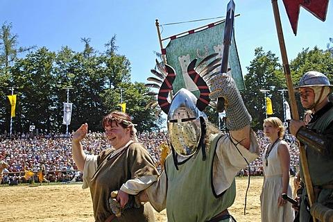 Knights in mediaeval medieval costumes, knight festival Kaltenberger Ritterspiele, Kaltenberg, Upper Bavaria, Germany