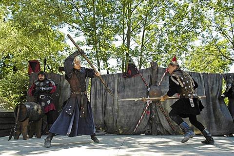 Fencing lansquenets, french stuntmen, knight festival Kaltenberger Ritterspiele, Kaltenberg, Upper Bavaria, Germany
