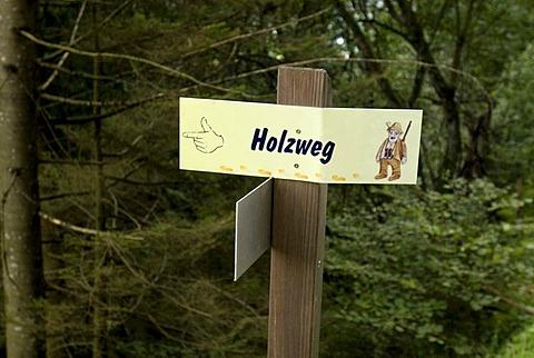Sign at trekking path Zillertal Tyrol Austria