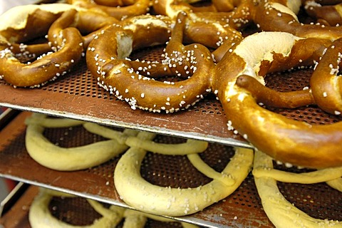 Bakery, pretzel. assortment of goods.