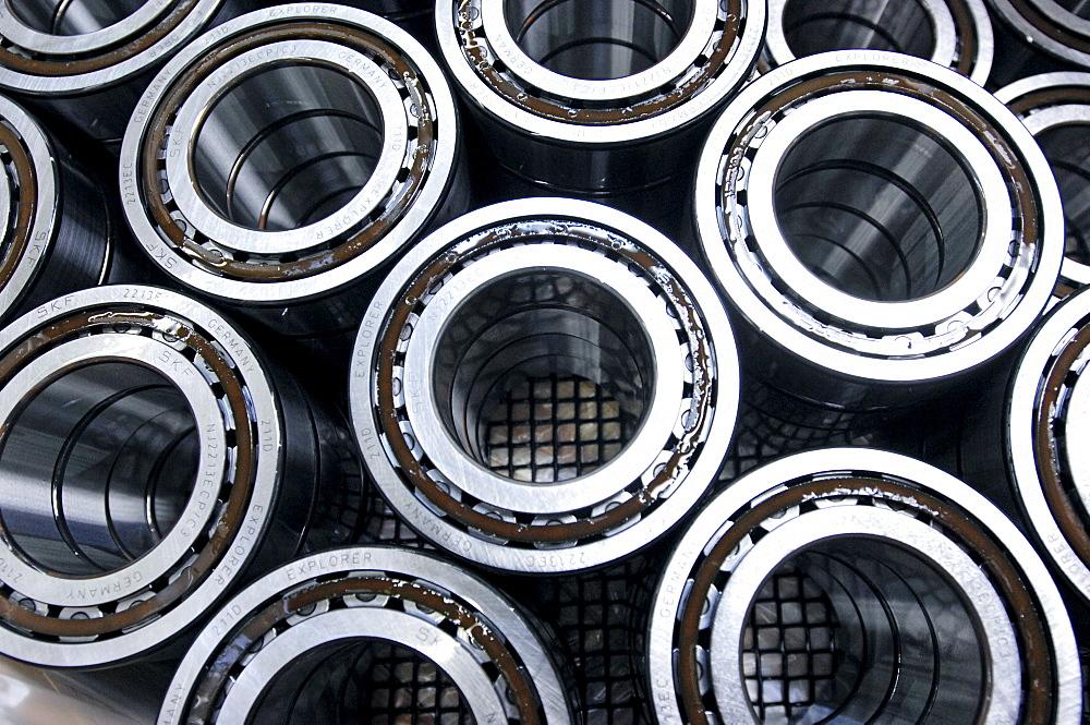 Assmbled roller bearing. Mechanical manufacturing.