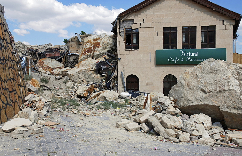 Stone-avalanche, damaged cafe, Uerguep, Cappadocia, Turkey