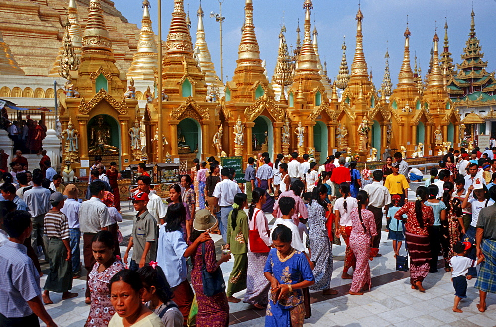 The Shwedagon Pagoda is the most important religious building and the religious centre of Yangon, Burma, Asia