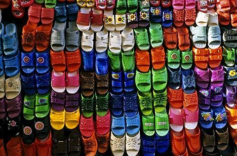 Plastic slippers, bazaar in Kashan, Iran