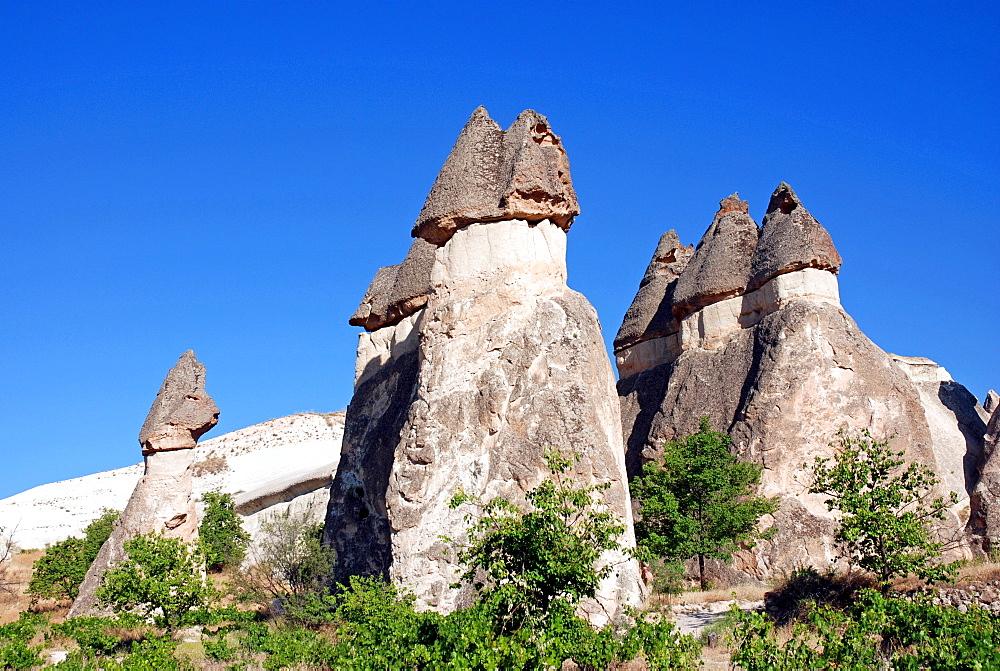 Tufa formations, Valley of the Monks (Pasabagi-Valley) near Goereme, Cappadocia, Anatolia, Turkey