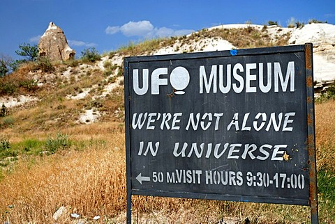 Indication sign for the UFO museum in Goereme, Kappadokia, Anatolia, Turkey