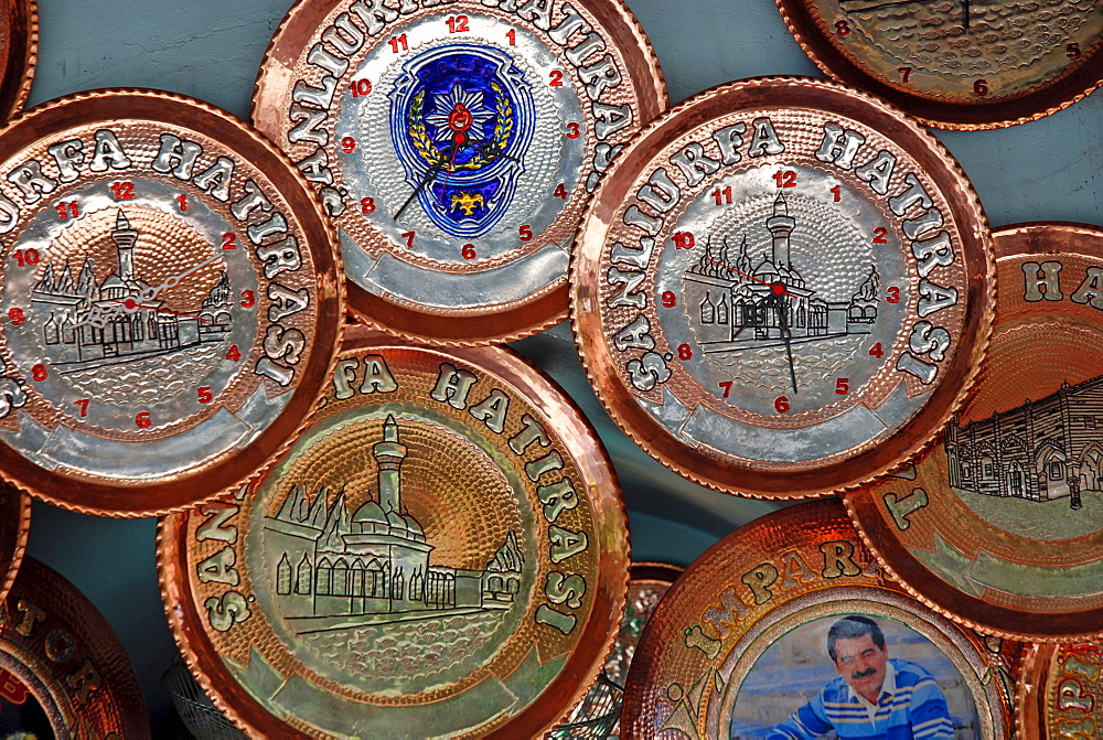 Souvenirs: clocks, copper plates, Urfa (Sanliurfa), Anatolia, Turkey, Asia - 832-364884
