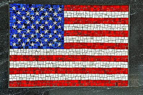 Mosaic of the US flag, monument, The Universal Soldier, Battery Park, Financial District, Manhattan, New York City, USA
