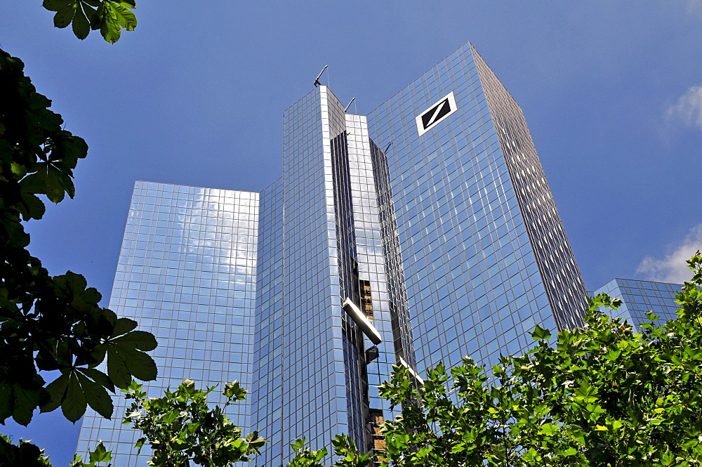 New glazing, biggest sanitation of a building in Europe, Headquarters of the Deutsche Bank, Frankfurt, Hesse, Germany, Europe
