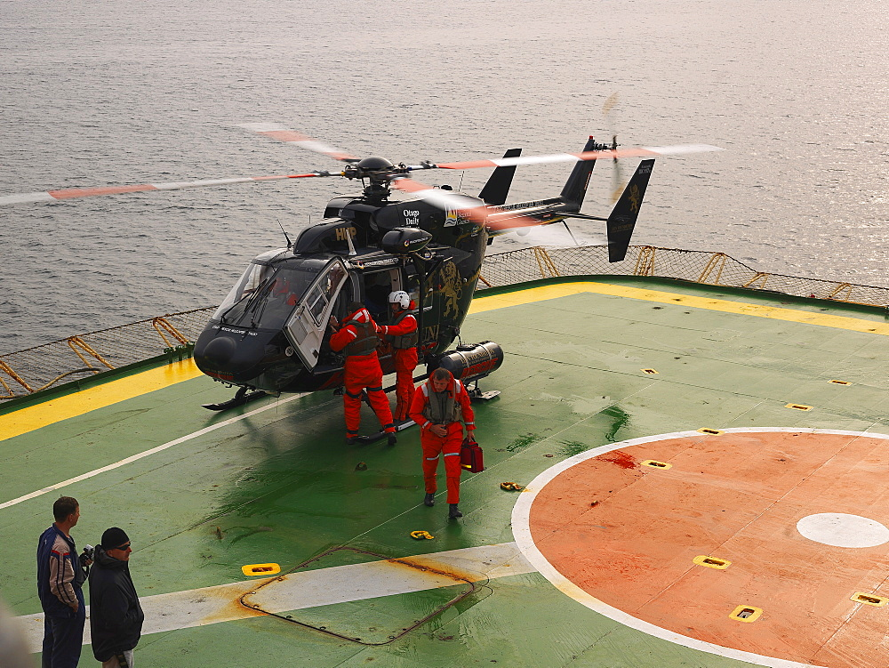 Rescue helicopter landing on Capt. Khlebnikov icebreaker near Enderby Island, Auckland Islands Archipelago, New Zealand, Oceania