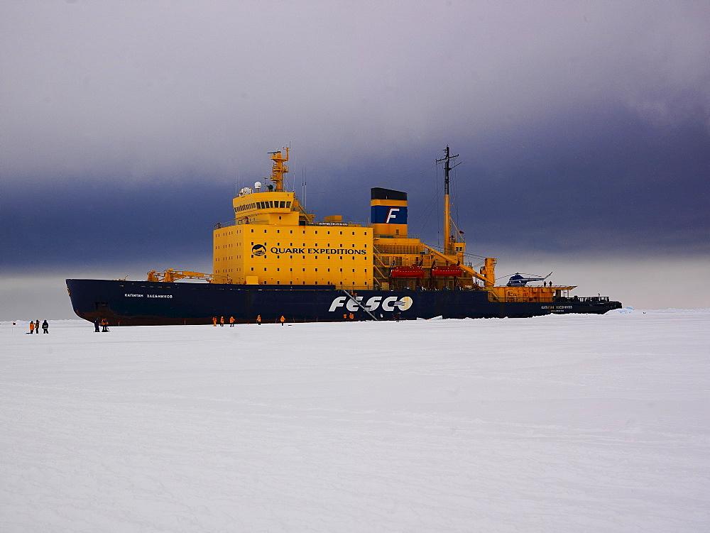 Ice breaker Kapitan Khlebnikov in the ice of the Ross Sea in front of Cape Washington, Antarctic
