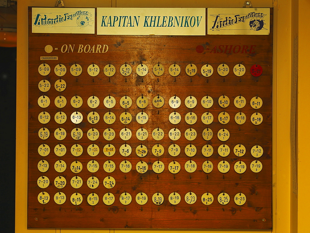 Passengers' Tags showing their presence or absence from the ship, Captain Khlebnikow Icebreaker, Antartic