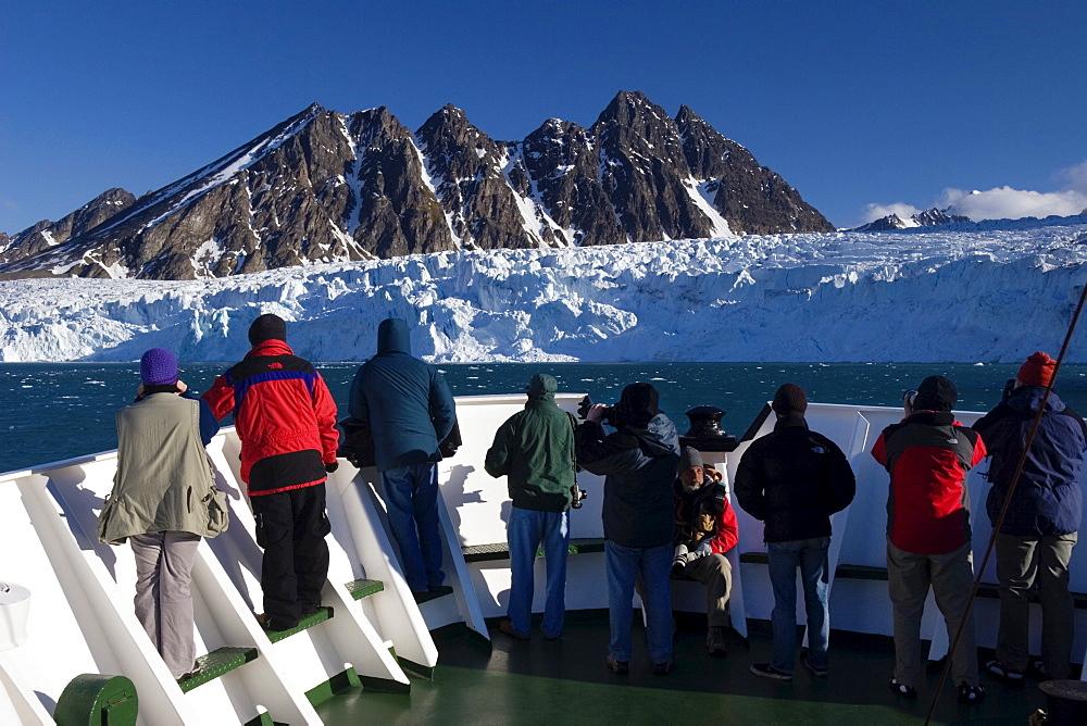 Monaco Glacier, cruise ship, Spitsbergen, Norway, Europe