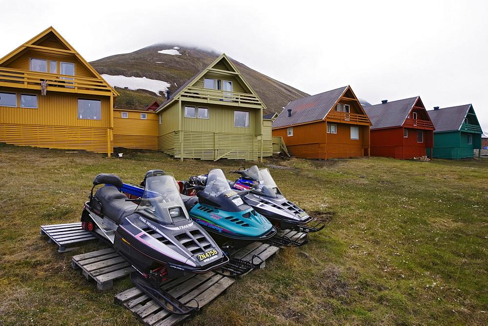 Snowmobiles in Longyearbyen, Spitsbergen, Svalbard, Norway, Europe