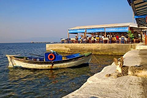 Cafe, Reastaurant, seaside-lane in Koroni, Peloponnese, Greece