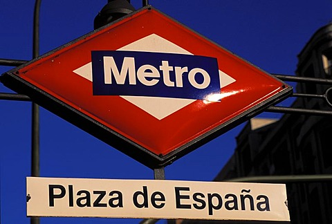 Metro, Underground sign , Plaza de Espana , Madrid , Spain , Europe - 832-366151