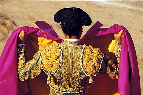Torero , bullfighting arena of Las Ventas , Torero in costume Traje de luz , Madrid , Spain , Europe - 832-366153