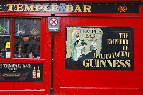 Legendary Temple Bar in the Temple Bar district . Dublin , Ireland , Europe