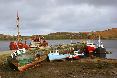 Ships in the bay at Letterfrack , Connemara , Connacht , Ireland , Europe - 832-366280