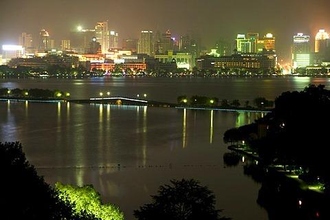 Skyline at night, Hangzhou, Zhejiang, China, Asiea