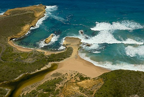 Great Ocean Road, helicopter flight over the cliffs and coastal landscape next to the Twelve Apostles, Southern Ocean, Victoria, Australia