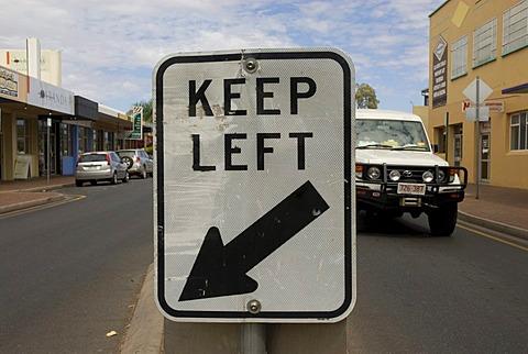 Street sign keep left, Alice Springs, Northern Territory, Australia
