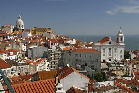 View over the Alfama district from Mirador de Santa Lucia, Lisbon, Regiao de Lisboa, Portugal, Europe