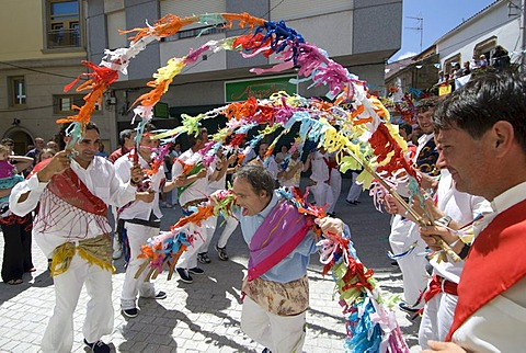 Danza de Arcos, Dance Beneath the Arches, fishermen and locals with down syndrome at the Fiesta del Virgen del Carmen, held on July 15 every year in Camarinas, La Coruna, Galicia, Spain, Europe