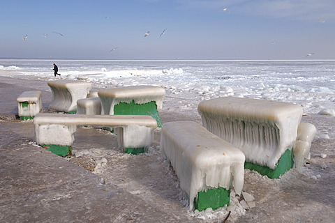 Icy cafe tables and benches on the beach of the frozen Black Sea, a rare phenomenon, last time it occured in 1977, Odessa, Ukraine, Eastern Europe
