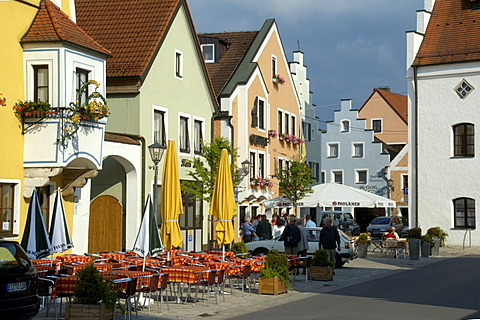 City center with typical gable roofs Beilngries Altmuehltal Upper Bavaria Bavaria Germany