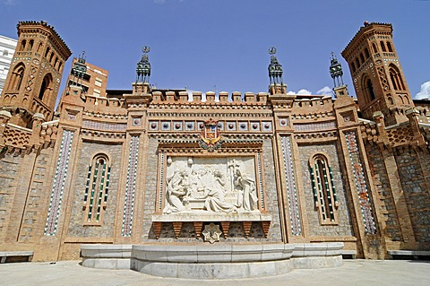 "Mural of the ""Lovers"" with a fountain, La Escalinata staircase, Mudejar architecture, Teruel, UNESCO World Heritage Site, Aragon, Spain, Europe, PublicGround"