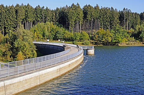 Dam with Bruchertalsperre Reservoir, Marienheide, Bergisches Land, North Rhine-Westphalia, Germany, Europe, PublicGround
