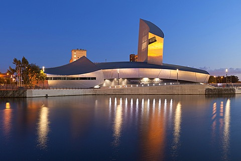 Imperial War Museum North in evening light, Salford Quays, Manchester, England, United Kingdom, Europe