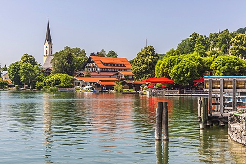 Schliersee Lake and the community of Schliersee, Alps, Bavaria, Germany, Europe