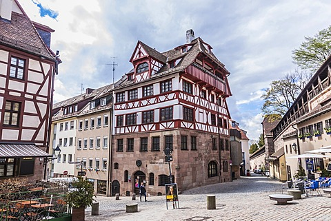 Albrecht Duerer Haus building on Tiergaertnertorplatz square, Nuremberg, Middle Franconia, Bavaria, Germany, Europe